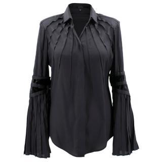 Gucci Black Silk Pleated Shirt