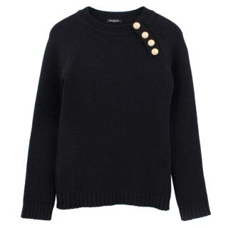 Balmain black wool button shoulder jumper
