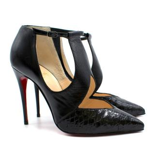Christian Louboutin Black & Python Ankle Strap Pumps