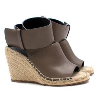 Celine Taupe Leather Espadrille Wedges