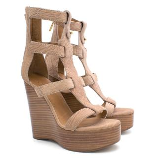 Chloe Nude Textured Leather Caged Wedges