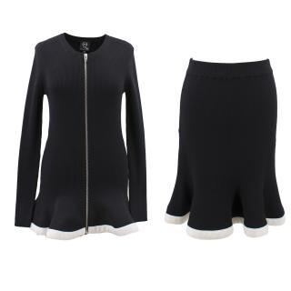 Alexander McQueen black wool zipped sweater and skirt set