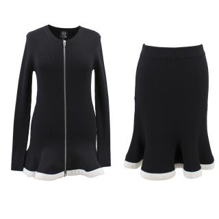 Alexander McQueen black wool zipped sweater and skirt set
