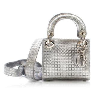 Christian Dior 'Lady Dior' Silver Mini Bag