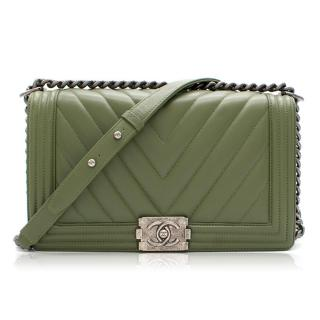 Chanel Large Boy Khaki Green Handbag