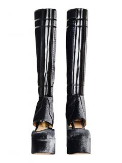 Gianvito Rossi for Mary Katrantzou velvet grey platform boots