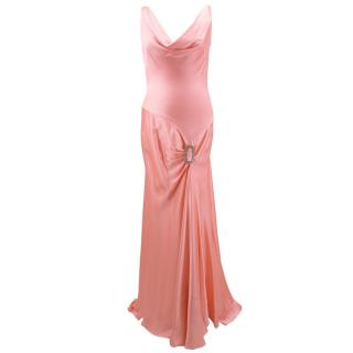Bespoke pink silk crepe crystal embroidered gown