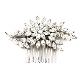 Ben-Anum Crystal Floral Leaf Antique Silver Plated Hair Comb