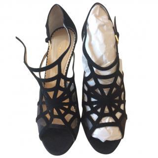 Charlotte Olympia black cobweb sandals