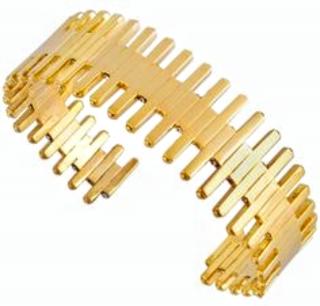 Charlotte Valkeniers Gold Cuff with Swarovski crystals