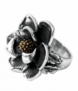 King Baby USA Silver Handcrafted Magnolia Ring