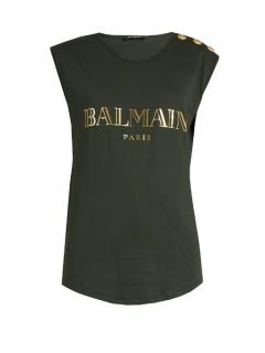 Balmain Dark Green Logo Top