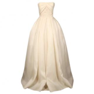 Reem Acra Divine Girl couture silk gazer ball gown wedding dress