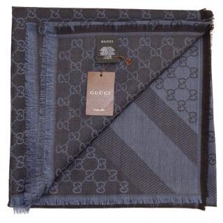 Gucci Blue Caffe Wool Scarf