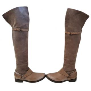BRUNELLO CUCINELLI Taupe Thigh Boots