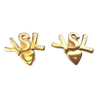 YSL Yves Saint Laurent Vintage Gold Tone Clip on Earrings .
