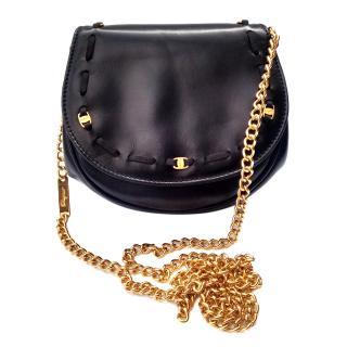 Salvatore Ferragamo Vara Vintage Black Leather Shoulder Clutch Bum Bag
