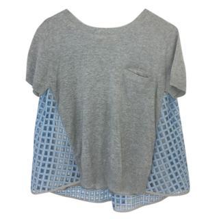 Sacai Grey & Blue Top
