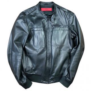 Hugo Boss Lamino Leather Bomber Jacket