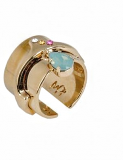 Maria Fonseca Pepe 24kt Gold Plated Swarovski charm ring