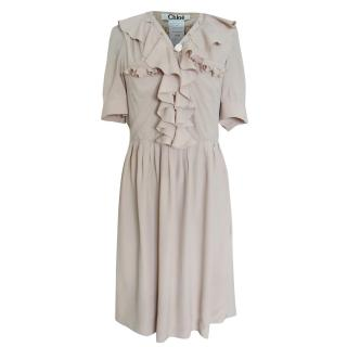 Chloe nude beige short sleeve dress