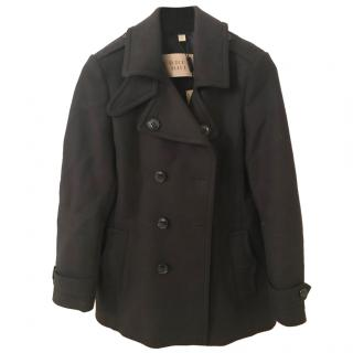 Burberry Black Wool Pea Coat UK 8