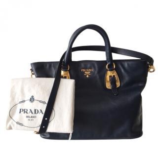 Prada navy shoulder tote bag