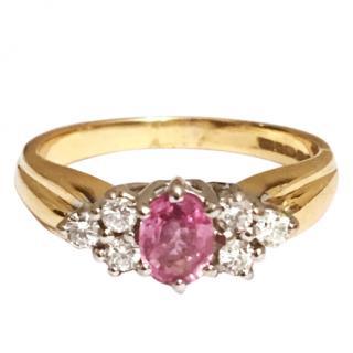18ct Gold Pink Sapphire & Diamond Ring