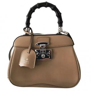 Gucci Beige Leather Mini Lady Lock Bag