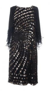 Rena Lange black mirrored evening dress