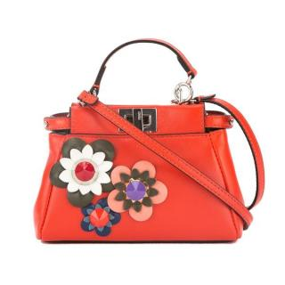 Fendi Red Mini Floral Peekabo Bag