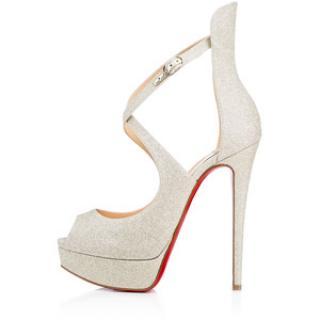 Louboutin Marlenalta 150 glitter mini silver heels