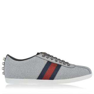 Gucci Silver Glitter Web Sneakers With Studs.