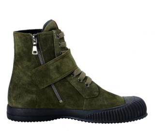 Prada olive green suede high top sneakers.