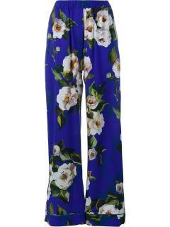 Dolce & Gabbana purple floral silk pyjama trousers