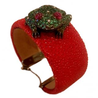 De Grisogono Shagreen leather Cuff/ Diamond/Ruby/ Tsavorite Frog