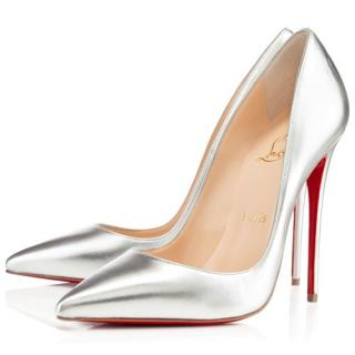 Christian Louboutin So Kate 120 kid silver