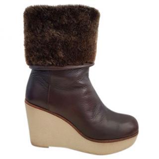 JIL SANDER Sheepskin Lined wedge Boots