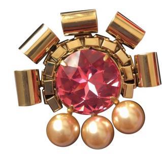 Mawi Pink Crystal Brooch