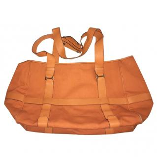 Hermes Ornage Canvas and Leather Tote Bag