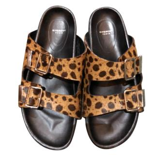 Givenchy Leopard print pony hair sandals