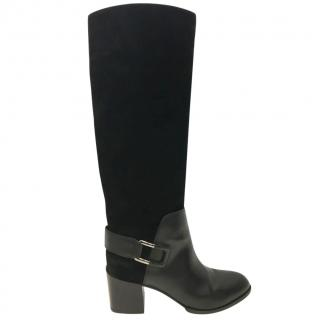 Sergio Rossi Black suede and leather Boots