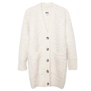 Maison Martin Margiela MM6 white wool-boucle cardigan