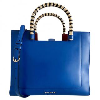 BVLGARI Bvlgari Electric Blue/Maroon Leather Serpenti Scaglie Tote