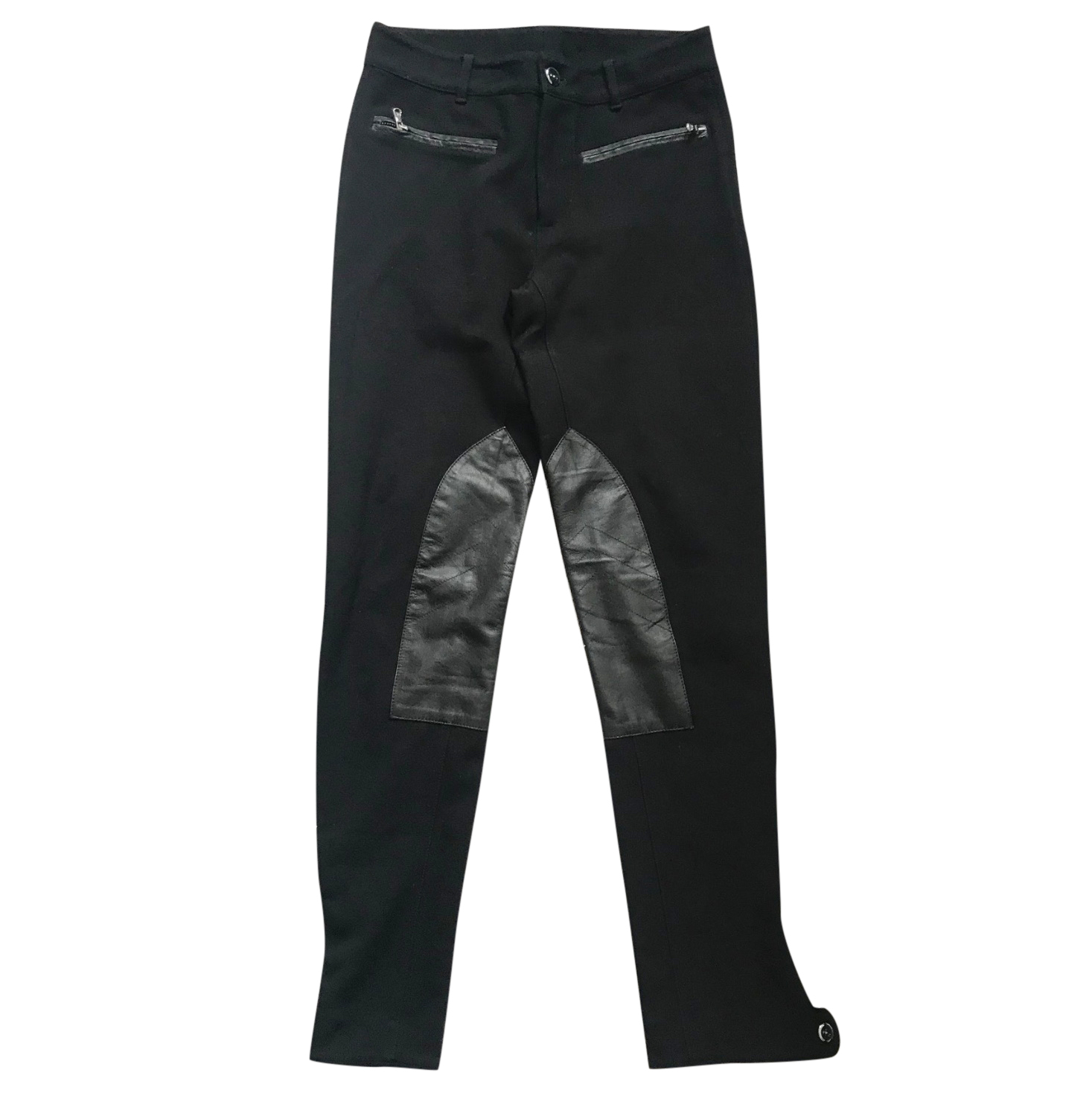 RALPH LAUREN Black Stretch Pants with leather details