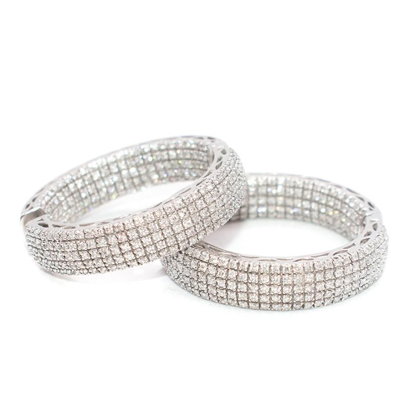 Bespoke White Gold and Diamond Hoop Earrings