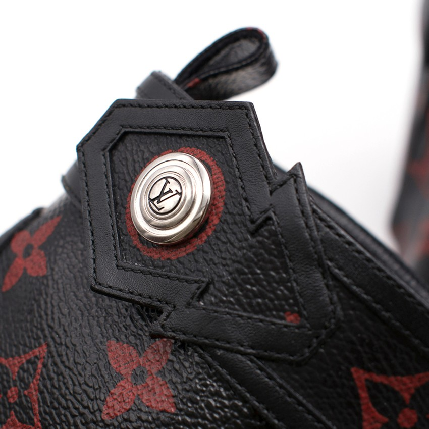 46f2025d9149 Louis Vuitton Black and Red Monogram Logomania Boots. 27. 123456789