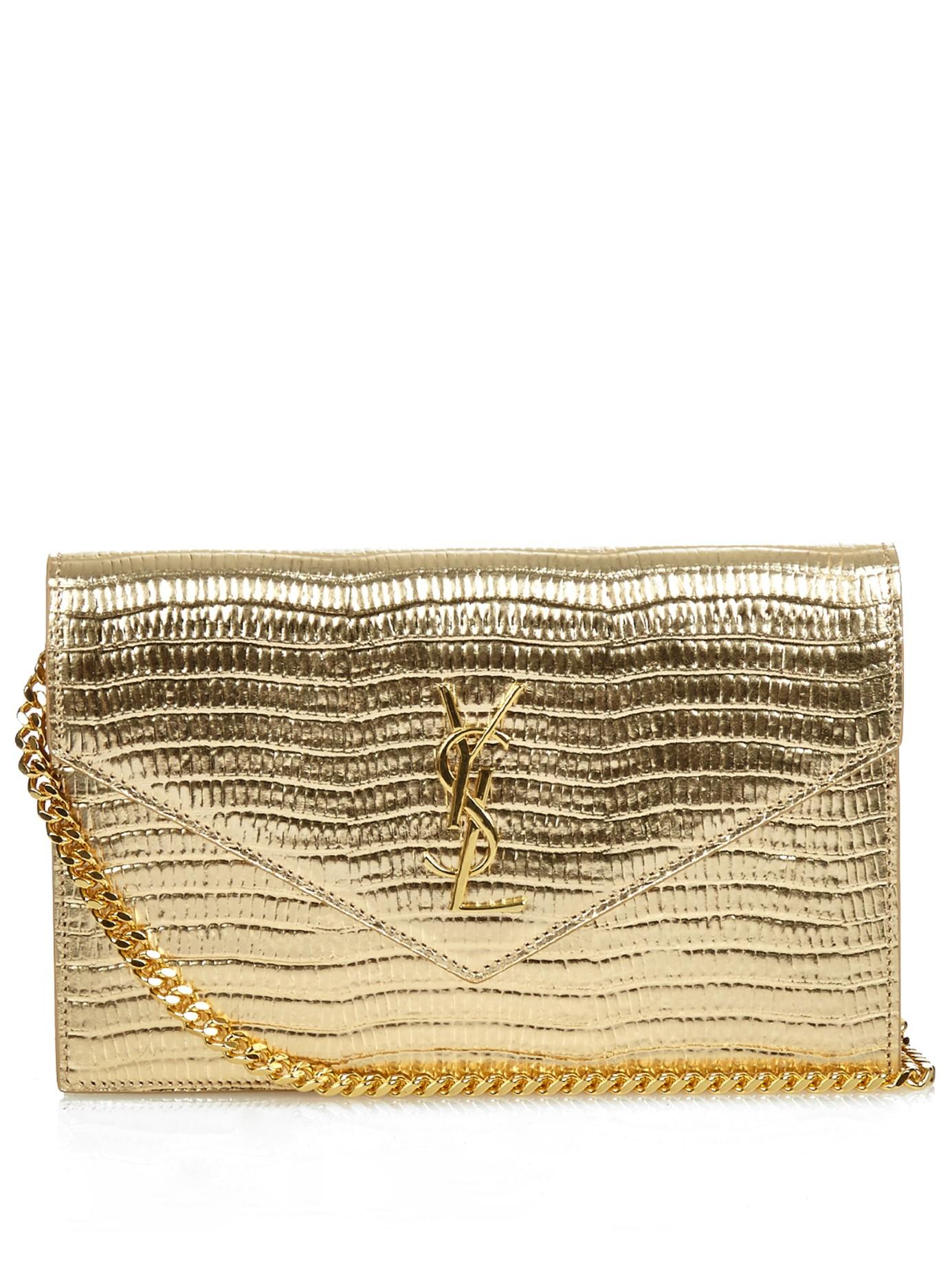 b7fef2db7b Saint Laurent Gold Envelope Leather Walletonchain