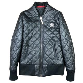 Philipp Plein Quilted Leather Bomber Jacket