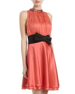 Moschino Bow Waist Jeweled Neck Dress